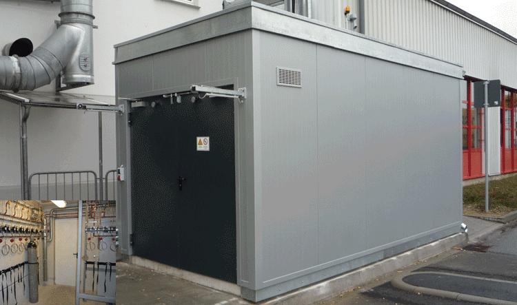 Gasflaschenlagerung in einem F90 Gasflaschencontainer aus Beton