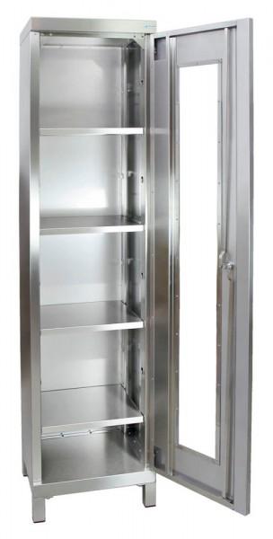 STM-CabinOX Edelstahl-Sichtfenster-Schrank, 1900 x 450 x 400 mm, Vierkant-Sockelfüße