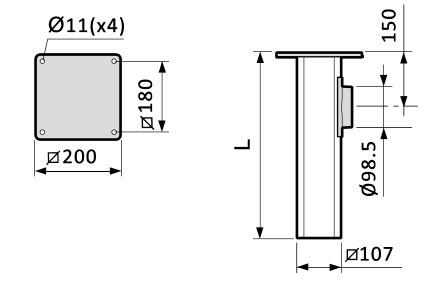 Fumex Deckenkonsole MTI Innen & Außen Epoxyd lackiert, für Absaugarm ME Ø50/75mm