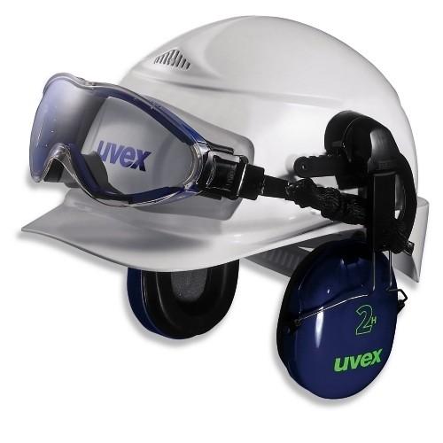 uvex Vollsichtschutzbrille 9302510 blau/grau, PC farblos, mit Helmhalterung