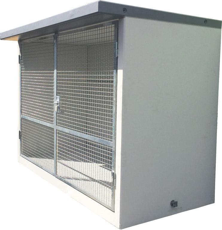 Gasflaschenlager aus Beton in F90 Qualität mit Maschengittertüren