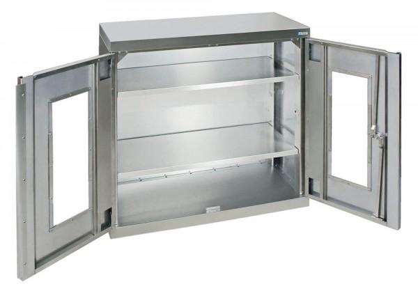 STM-CabinOX Edelstahl-Sichtfenster-Schrank, 900 x 900 x 400 mm, Stellschrauben