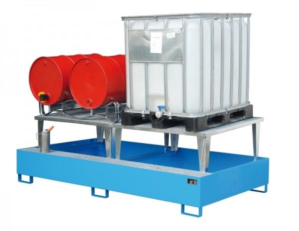Bauer Auffangwanne Typ ECO-A 2/1000 mit Abfüllaufsatz, für 2x 1000-l-IBC, Export-Ausführung