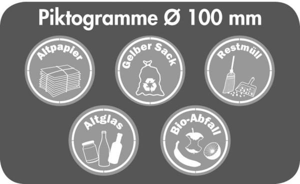 Stumpf Metall Piktogramm-Set, rund, Ø 100 mm für Abfalltrennung