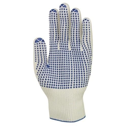uvex Stricknoppenhandschuhe unigrip 6620 weiß/blau mit PVC-Noppen, 13 Gauge