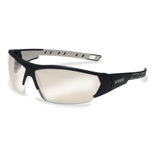 uvex Bügelbrille 9194885 i-works, schwarz / grau, PC Silberspiegel grau, Beschlagfrei