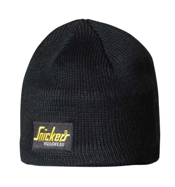 Snickers Workwear 9084 Logo Beanie Mütze mit Fleecefutter, schwarz
