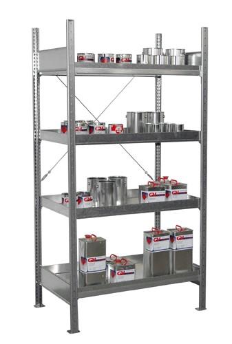 Bauer Grundregal Typ S 3019-4E aus Stahl mit 4 verzinkten Auffangwannen, für Kleingebinden