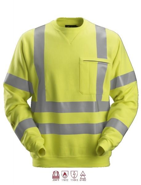 Snickers Workwear 2863 ProtecWork Sweatshirt, signalgelb, antistatisch, Warnschutz Klasse 3