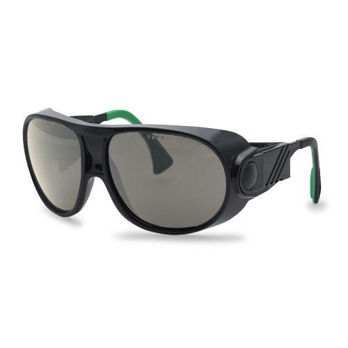 uvex Schweißerschutzbrille 9180141 futura, schwarz / grün, PC grau, Schutzstufe 1,7