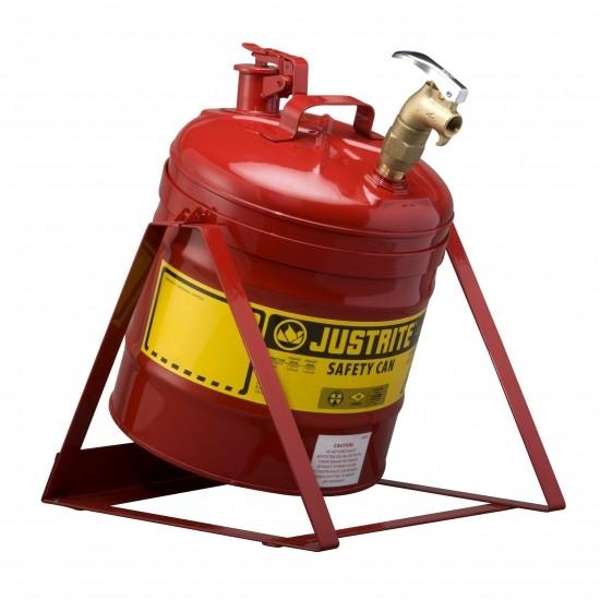 Justrite Stahl-Kippbehälter rot, 19 Liter, mit Wasserhahn oder Zapfhahn