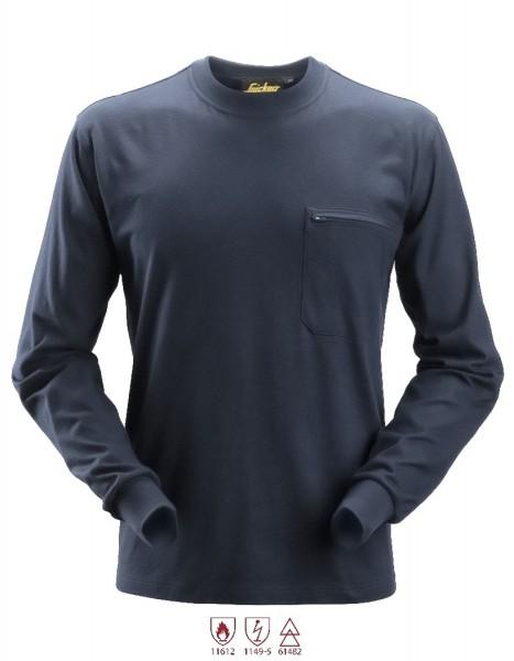 Snickers Workwear 2460 ProtecWork Langarmshirt, navy, antistatisch
