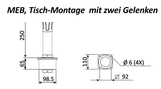 Fumex Absaugarm MEB Standard, Tischmontage, Ø 50 mm, 2 Gelenke
