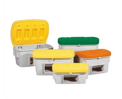 Streugutbehälter aus PE mit Entnahmeöffnung, 200 L, Deckel gelb