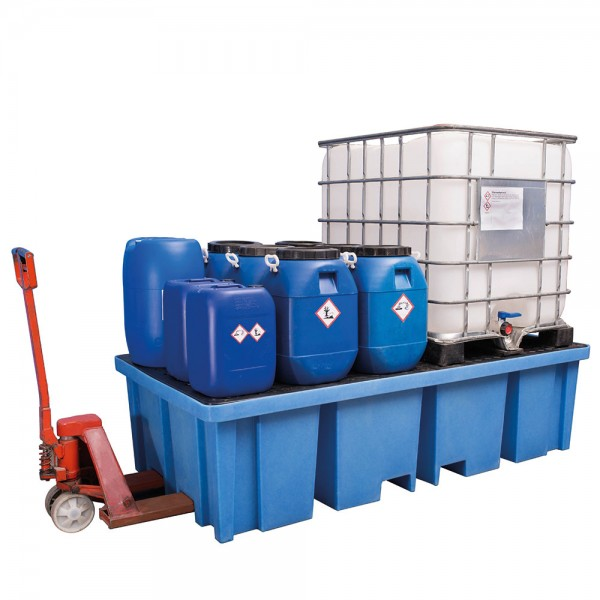 Auffangwanne 1150 Liter aus Kunststoff (PE) für 2 IBC oder Paletten von 4 Seiten unterfahrbar