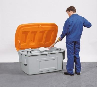 B.18120 - Streugutbehälter aus PE ohne Entnahmeöffnung, 100 L, Deckel orange