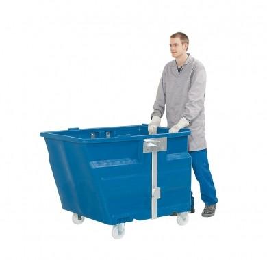 Kippbehälter mit Rollen, 800 L, 1160x1340x900mm, PE, verschiedene Farben
