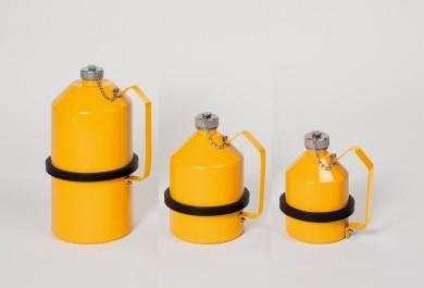 Sicherheits-Lagerkanne, 2 l, Stahl verzinkt, Beschichtung in Sicherheitsgelb