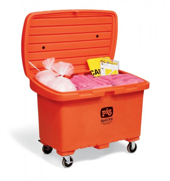 Notfallkit in auffälliger Transportkarre mit Gummireifen, Chemikalien KIT379