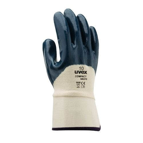 uvex Nitril-Schutzhandschuhe compact NB27E mit Segeltuchstulpe, teilbeschichteter Handrücken