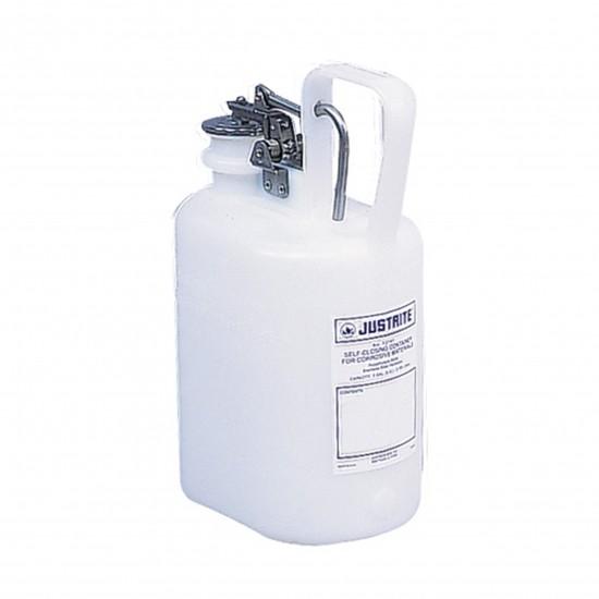 Justrite Selbstschließende Behälter, PE, oval, 4 Liter, mit Auslösegriff, weiß