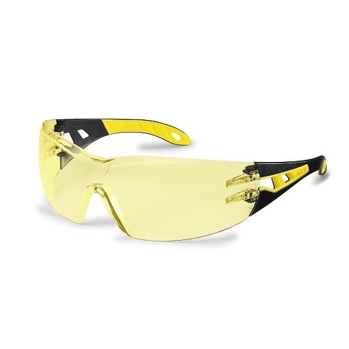 uvex Schutzbrille 9192385 pheos, schwarz/gelb, PC amber, kratzfest, beschlagfrei