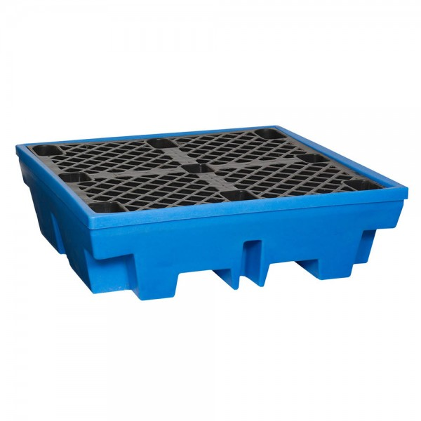 Fasswanne FW4-H mit 50% Auffangvolumen und Stellfläche, Kunststoff, blau, Auffangvolumen 250L, für 4