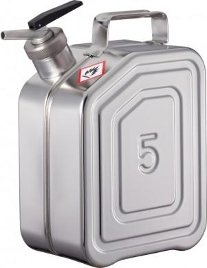 Sicherheitskanister 5 Liter Edelstahl Rötzmeier mit selbstschließendem Feindosierer