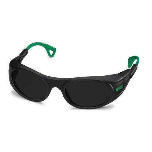 uvex Schweißerschutzbrille 9116046 schwarz / grün, PC grau, Schutzstufe 6, anpassbare Bügelenden