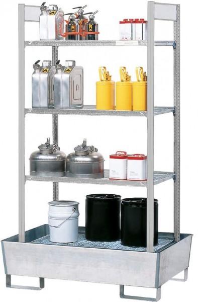 Gefahrstoffregal RWG 2064, 2470 x 815 x 2100 mm, verzinkte Auffangwanne, 8x Gitterrost