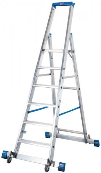 Krause STABILO Stufen-StehLeiter mit Traverse, fahrbar