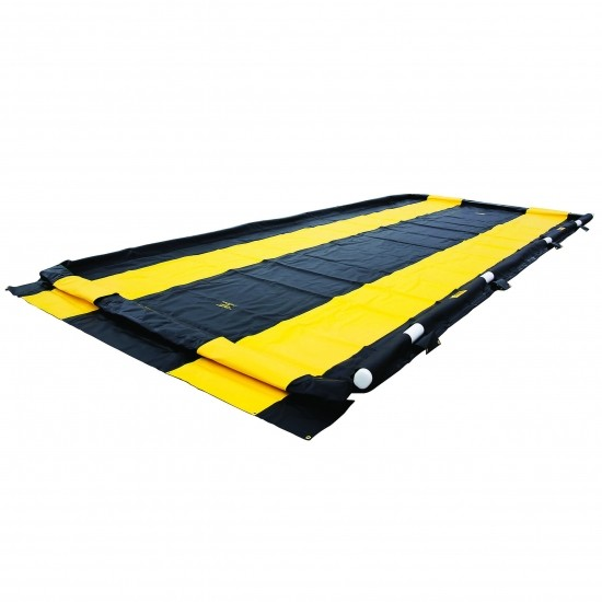 Justrite mobile, faltbare Dekontaminationswanne 28578, schwarz, 1609 L, 3,0 x 5,5 m, für Fahrzeuge