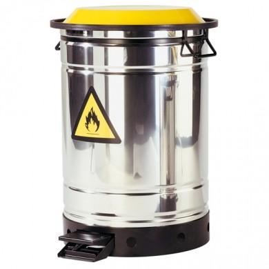 Entsorgungsbehälter 50 Liter, für brennbare Abfälle mit Fußpedal, Edelstahl