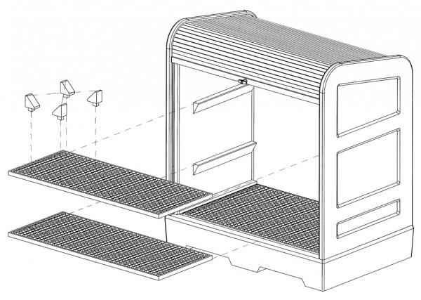 Gitterrostauflage PE als Zwischenboden für Gefahrstoffdepot