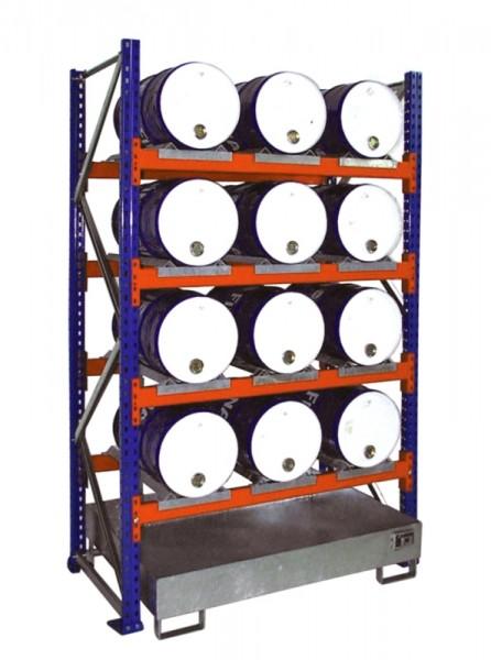 Bauer Fass-Anbauregal Typ S 3007 pulverbeschichtet, 4 Ebene, Auffangwanne verzinkt ohne Gitterrost