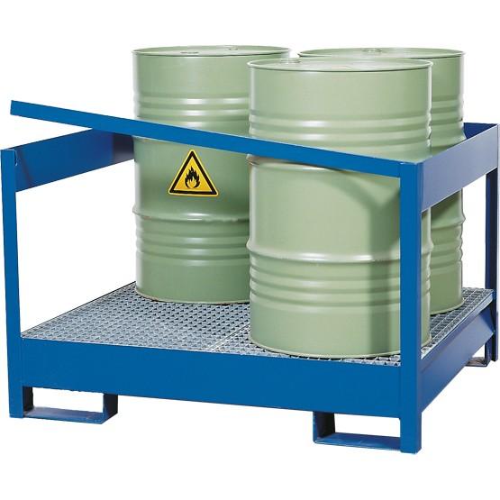 Gefahrstoffstation offen, Stahl lackiert, Staplerschuhen, 4x 200 L Fass, 1355x1270x1000mm