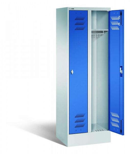 Kleiderschrank mit Sockel, Stahl, 2 Abteile, 600 x 500 x 1800 mm, DIN 4547