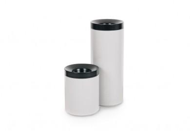 Selbstlöschende Abfallbehälter 30 Liter, schwarz/weiß