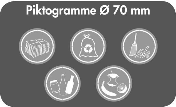 Stumpf Metall Piktogramm-Set, rund, Ø 70 mm für Abfalltrennung