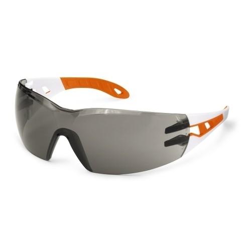 uvex Schutzbrille pheos s 9192745, schmal, weiß/orange, PC grau, Sonnenschutz