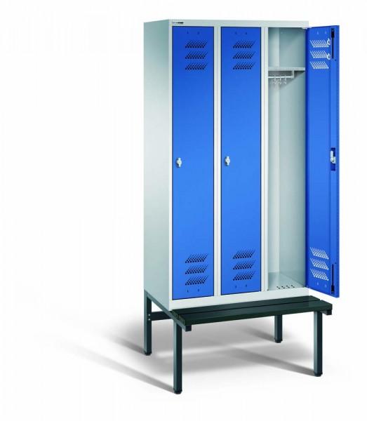 Kleiderschrank mit untergebauter Sitzbank, 3 Abteile, 900 x 500 x 1800, Drehriegel