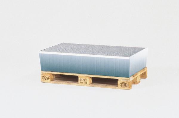 Auffangwannen verzinkt, Gitterrost verzinkt, 1 x 200 L Fass oder Kleingebinde, 815 x 1235 x 255