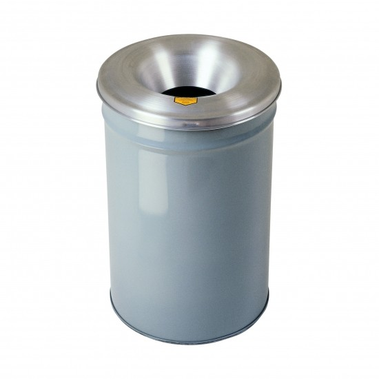 Justrite Cease-Fire Abfallbehälter 200 Liter, Graue Trommel, Aluminiumkopf