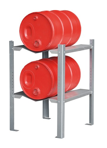 Bauer Gebinderegal Typ GR-C Stahl verzinkt mit 2 Fassaufauflagen für 2 x 60-l-Fässer