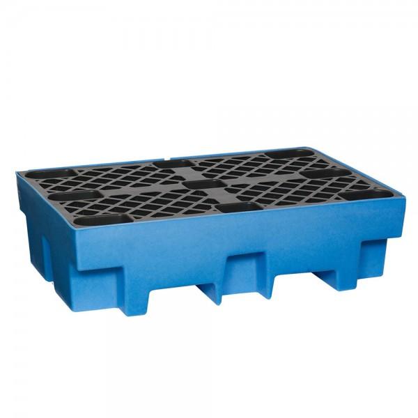Fasswanne FW2 mit Stellfläche, PE, blau, Auffangvolumen 240 L, für 2x 200-L Fass