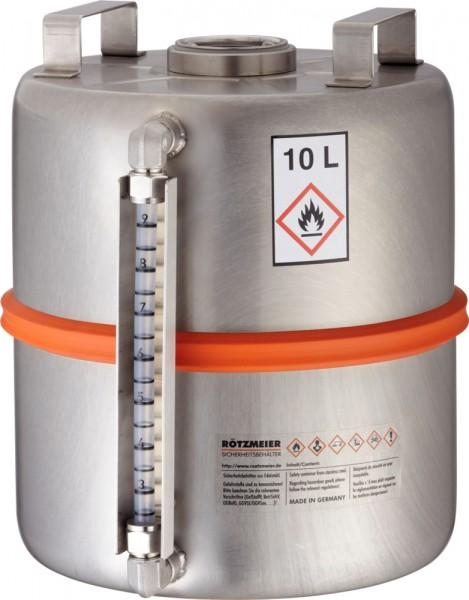 Rötzmeier Sicherheitssammelbehälter 10 Liter Typ 10SI mit Inhaltsanzeige, Edelstahl