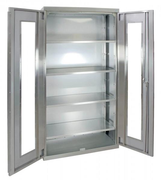 STM-CabinOX Edelstahl-Sichtfenster-Schrank, 1800 x 900 x 400 mm, Stellschrauben