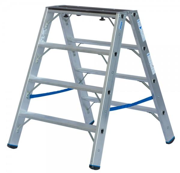 Krause STABILO Stufen-Doppelleiter mit Holzauflage 2x 4 Stufen