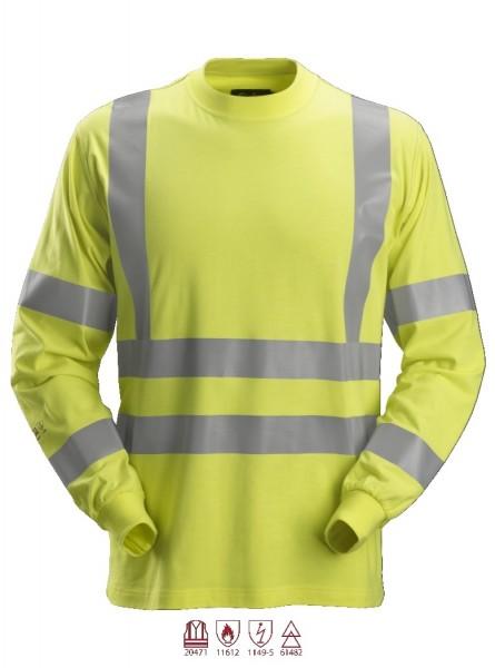 Snickers Workwear 2461 ProtecWork Langarmshirt, signalgelb, antistatisch, Warnschutz Klasse 3