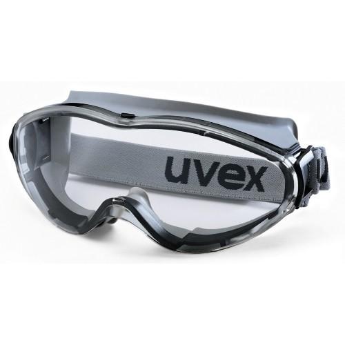 uvex Vollsichtbrille 9302285 ultrasonic mit Kopfband, schwarz/grau, PC farblos, Panoramasichtfeld